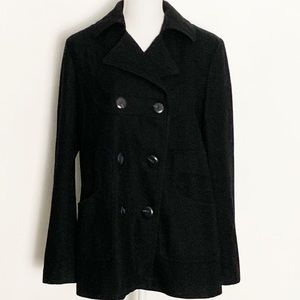 VIA SPAGA-Black Wool  Pea Coat. Size 12